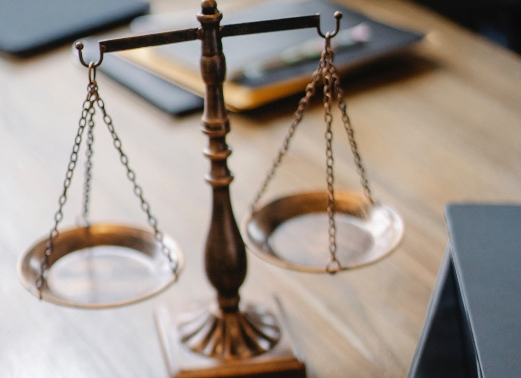 Legal scales on a desk