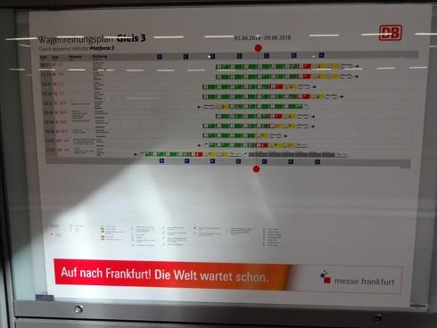 ベルリン駅の電車到着掲示板