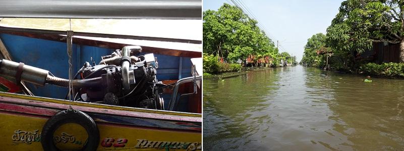 バンコクの水上マーケットに向かうボート