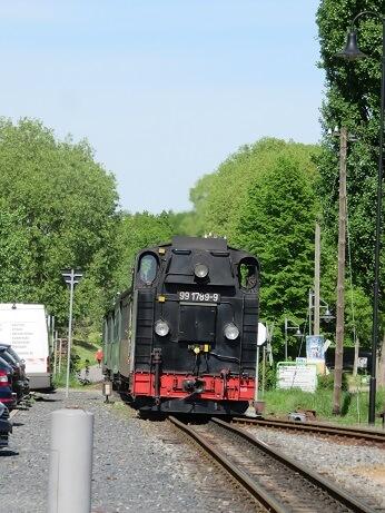 ドレスデンの蒸気機関車の後ろ