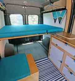 ram promaster camper van conversion kit simple teal [ 2000 x 1334 Pixel ]