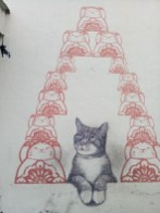 """""""Love Me Like Your Fortune Cat"""" done as part of the 12 street art pieces for 101 Lost Kittens, a project by Artists for Stray Animals in the hopes of promoting care and adoption of stray animals."""