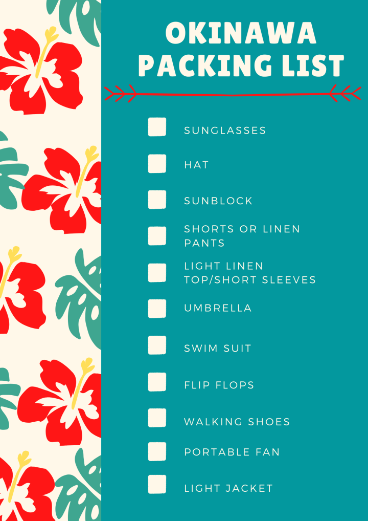 okinawa packing list