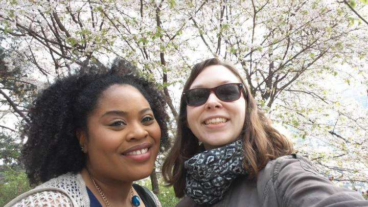 Nathalie and I in front of cherry blossoms