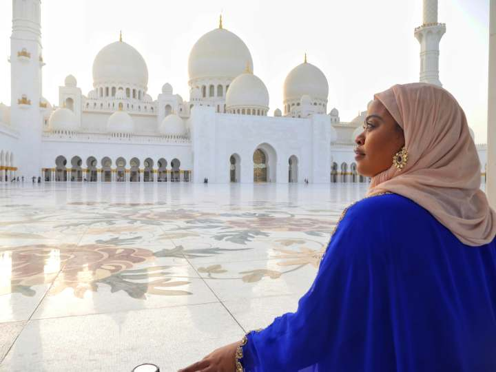 Nathalie at Sheikh Zayed Grand Mosque Abu Dhabi, UAE