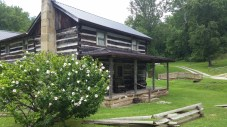 One of the many log cabins that have been lovingly reassembled on the property and upgraded for lodgers at Heritage.