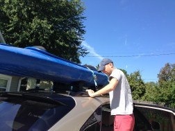 Putting the kayak on