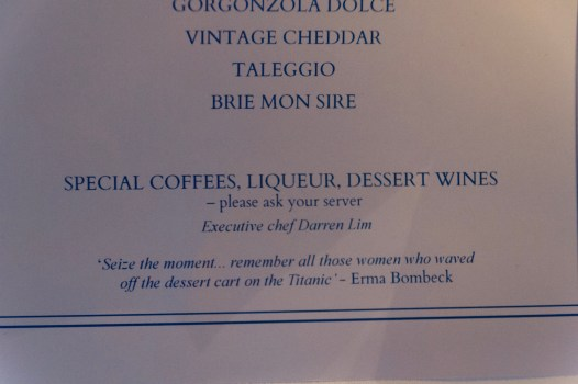 Love this quote from Emma Bombeck on the dessert menu!