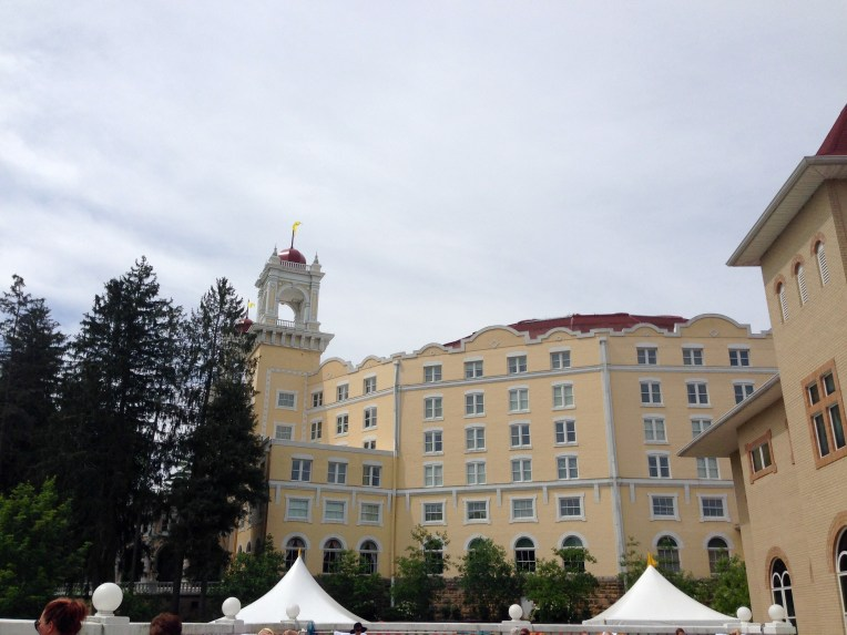 A view of the hotel from the pool