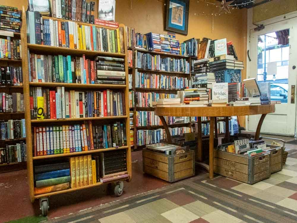Central Book Exchange Salt Lake City used bookstore. Bookshelves and table