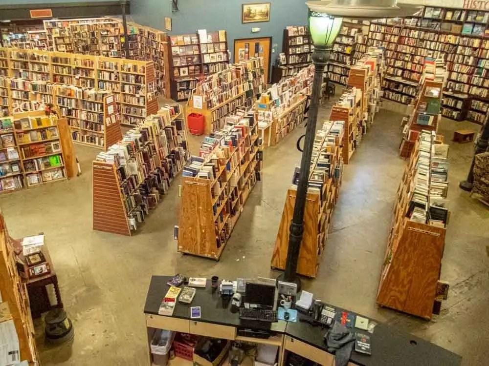 Weller Bookworks Salt Lake City. Overhead view of bookshelves