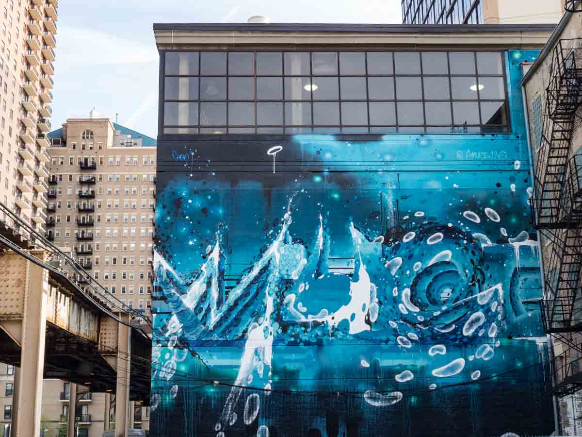 Blue Mural on Wabash Corridor