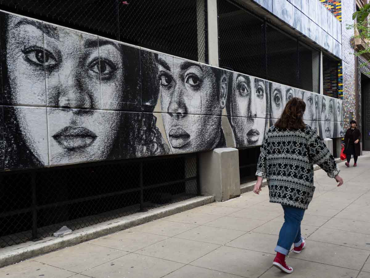 Unsmiling Women Wabash Corridor mural