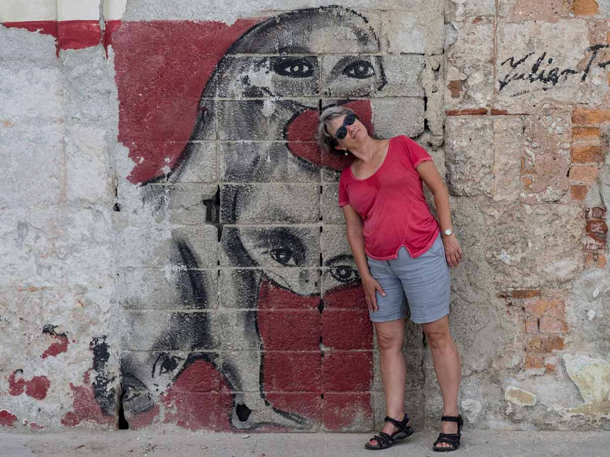Havana street art head monster in Havana Vieja