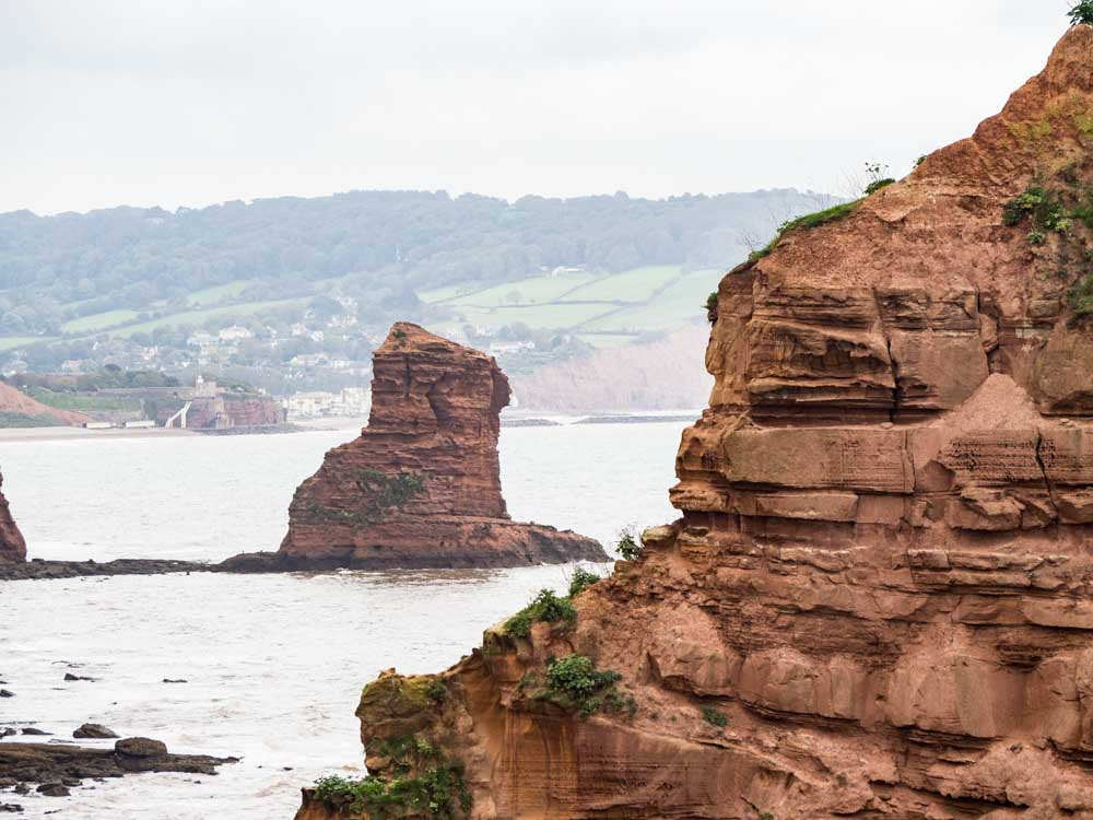 England Exmouth Jurassic Coast red stacks2