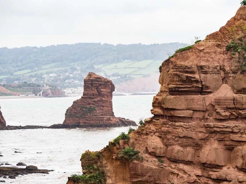 England Exmouth Jurassic Coast red stacks2