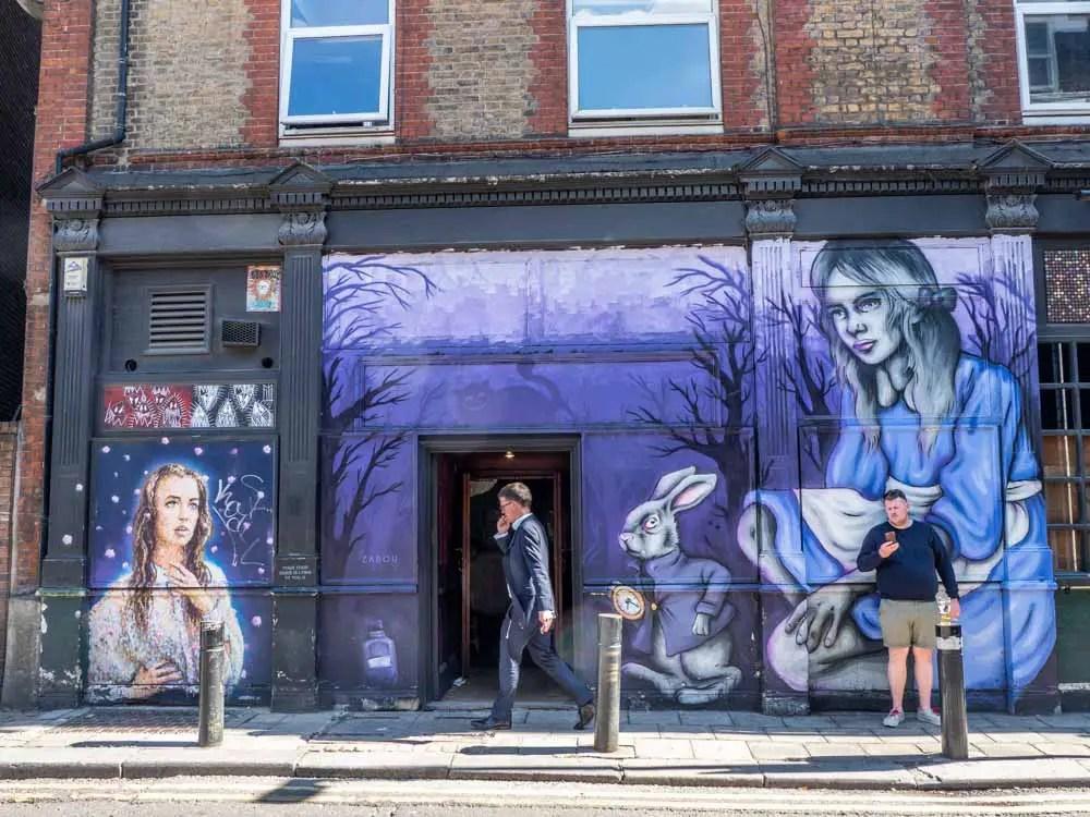 Shoreditch murals Zabou's Alice in Wonderland
