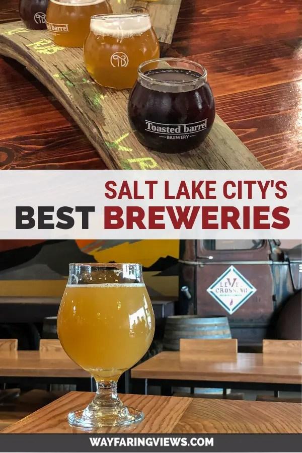 Best Breweries in Salt Lake City Utah. Beer samplers with brewery background