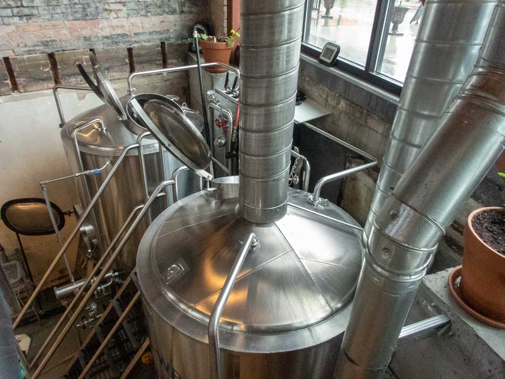 SLC Breweries: Hopkins Brewery. Silver Brewery vats