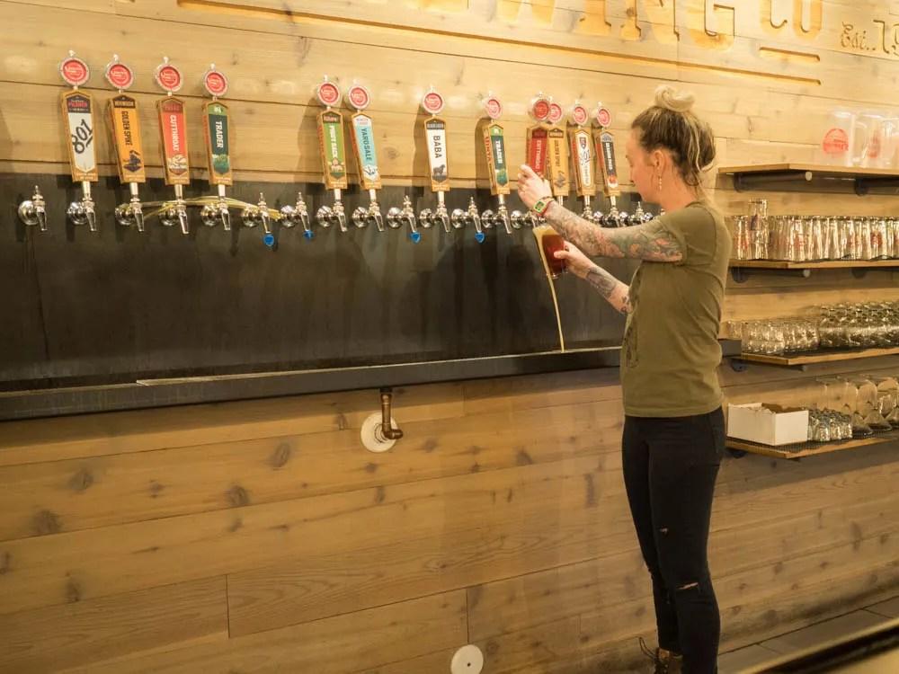 Beer selection at Uinta Brewing Pub