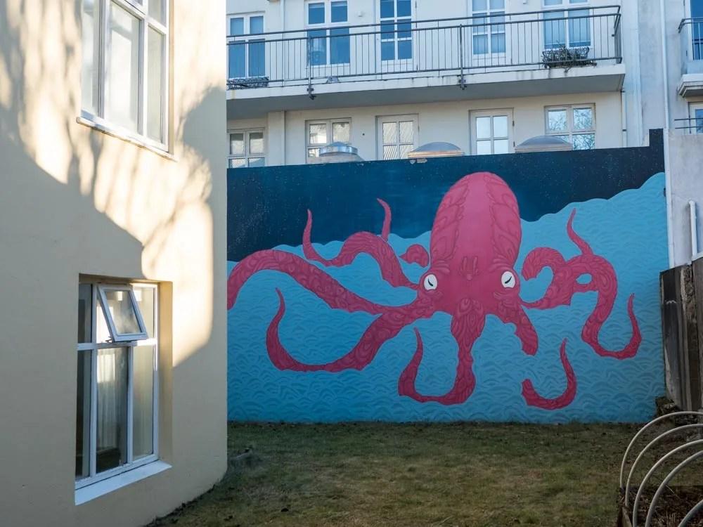 Reykjavik Iceland Street Art octopus