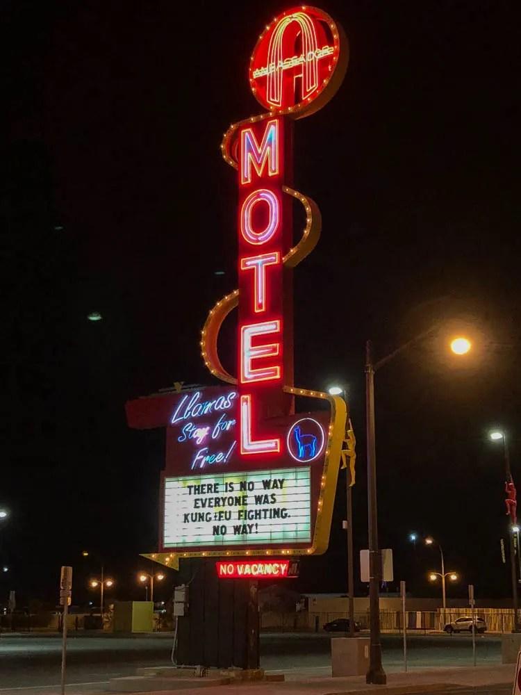Las Vegas Motel Sign Kung Foo Fighting