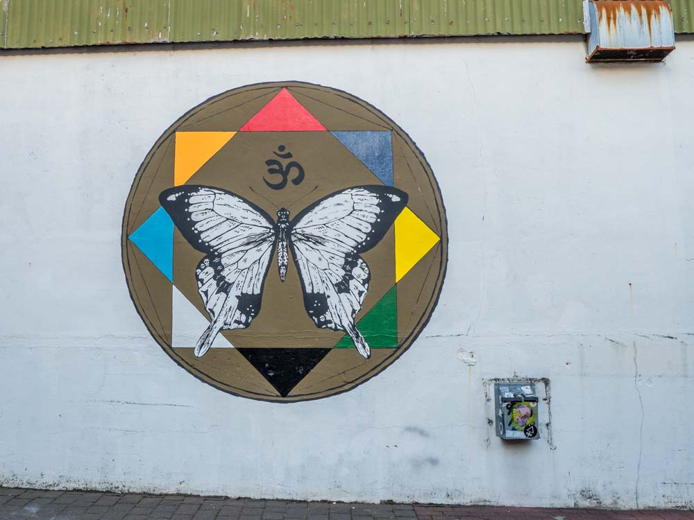 Butterfly Mural in downtown Reykjavik Iceland