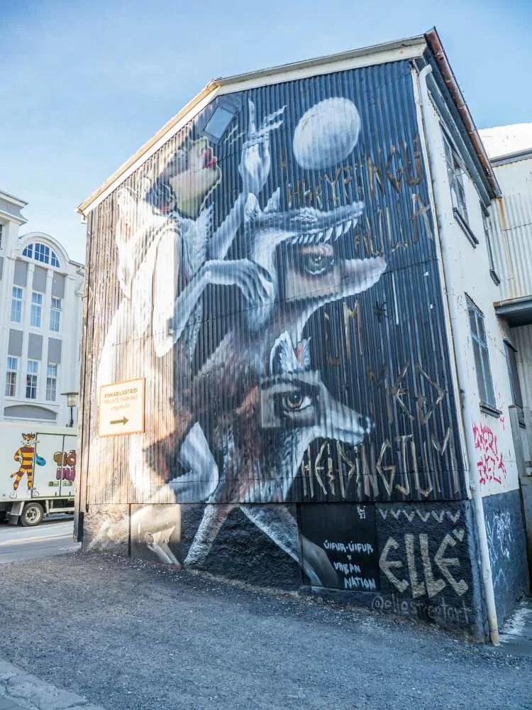 Reykjavik mural of Dogs by Elle