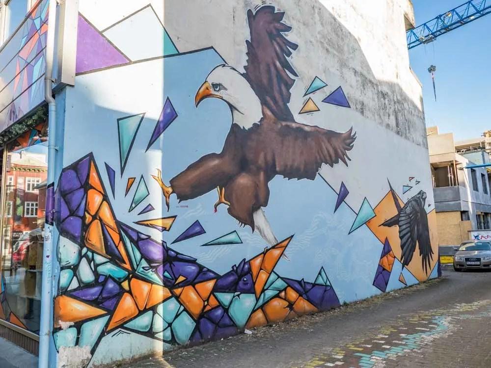 Reykjavik street art eagle by Selur