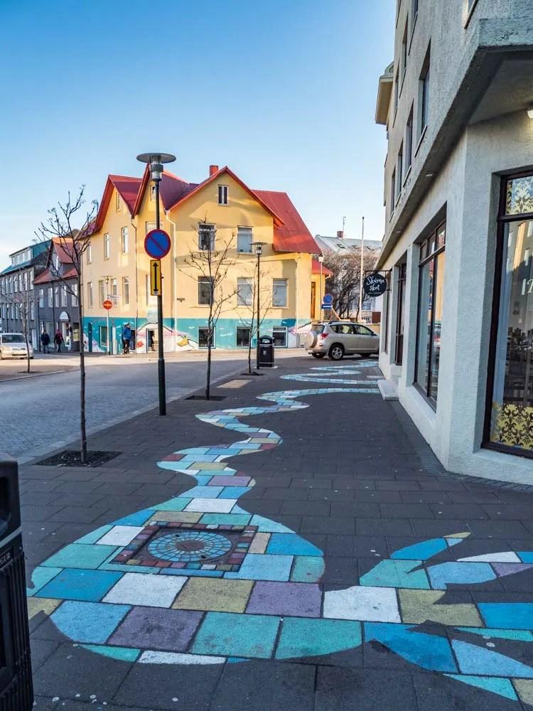 Reykjavik sidewalk mural