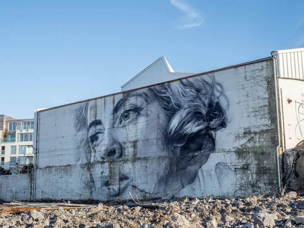 Reykjavik street art mural or woman by Guido