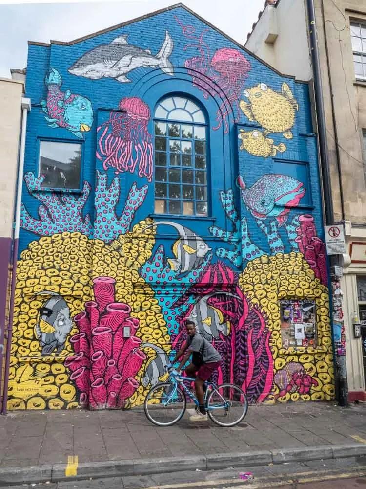 Bristol Stokes Croft street art mural: Fish