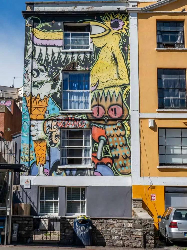 Stokes croft street art Bristol England Ice cream and owl