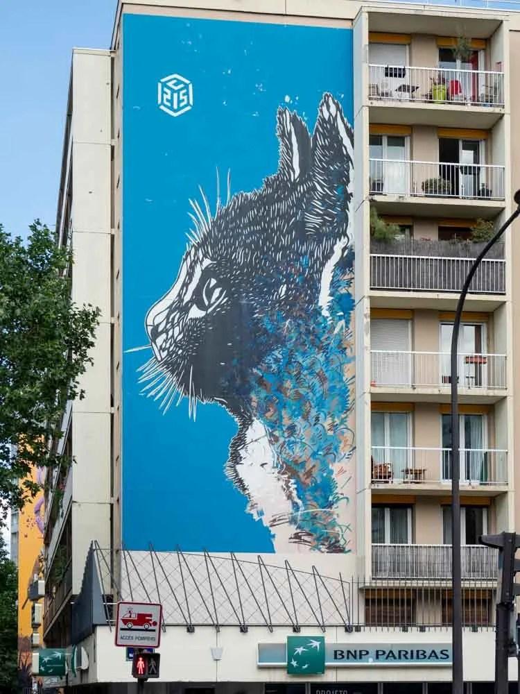 13th Arrondissement cat mural by C15