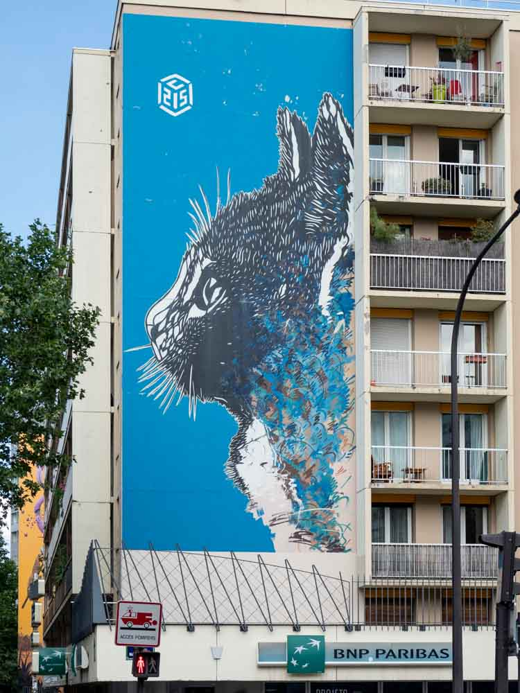 13th Arrondissement cat mural by C15