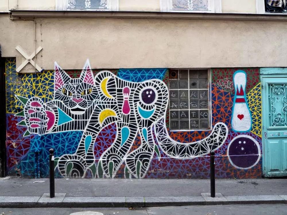 Paris mural in Belleville: cat