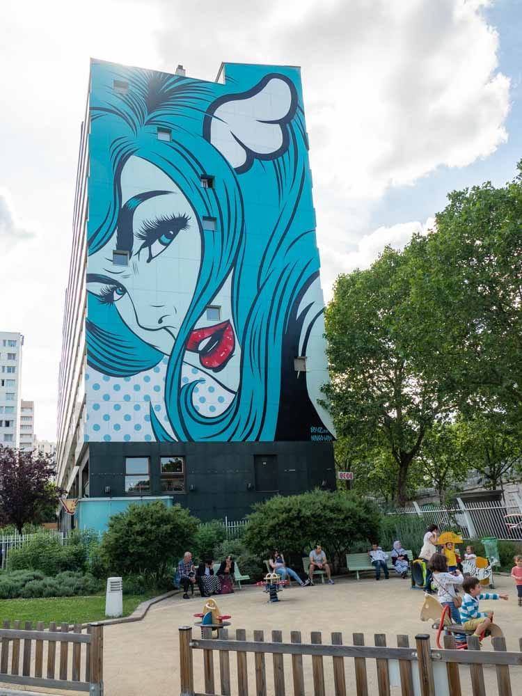 Paris mural by DFace women in blue