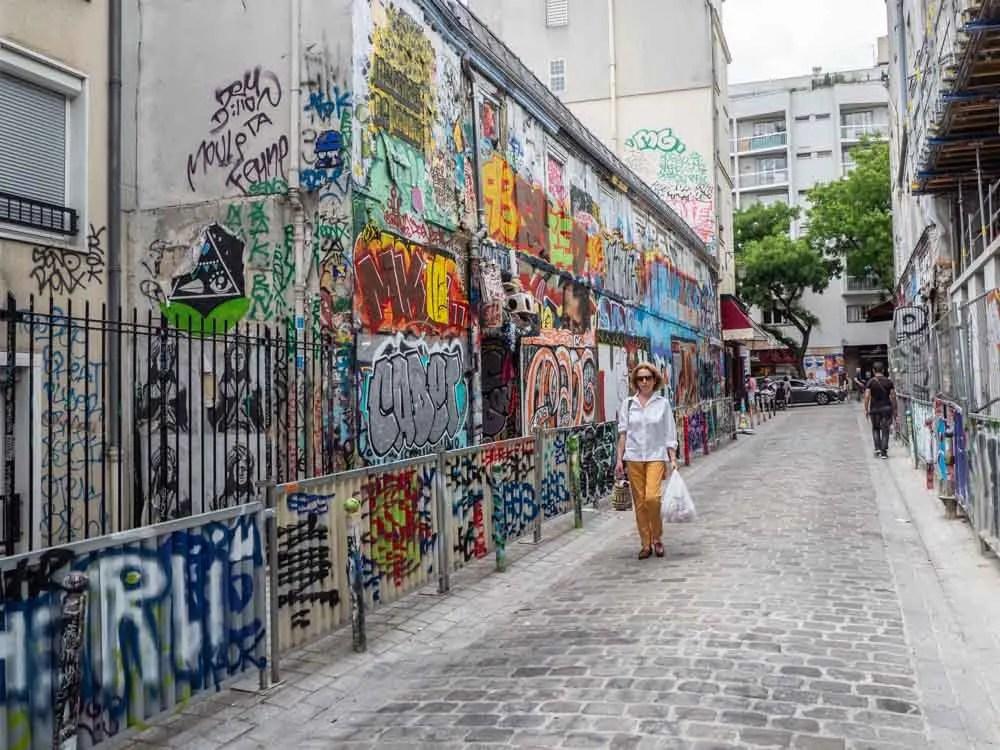Graffiti alley in Paris Rue Denoyez