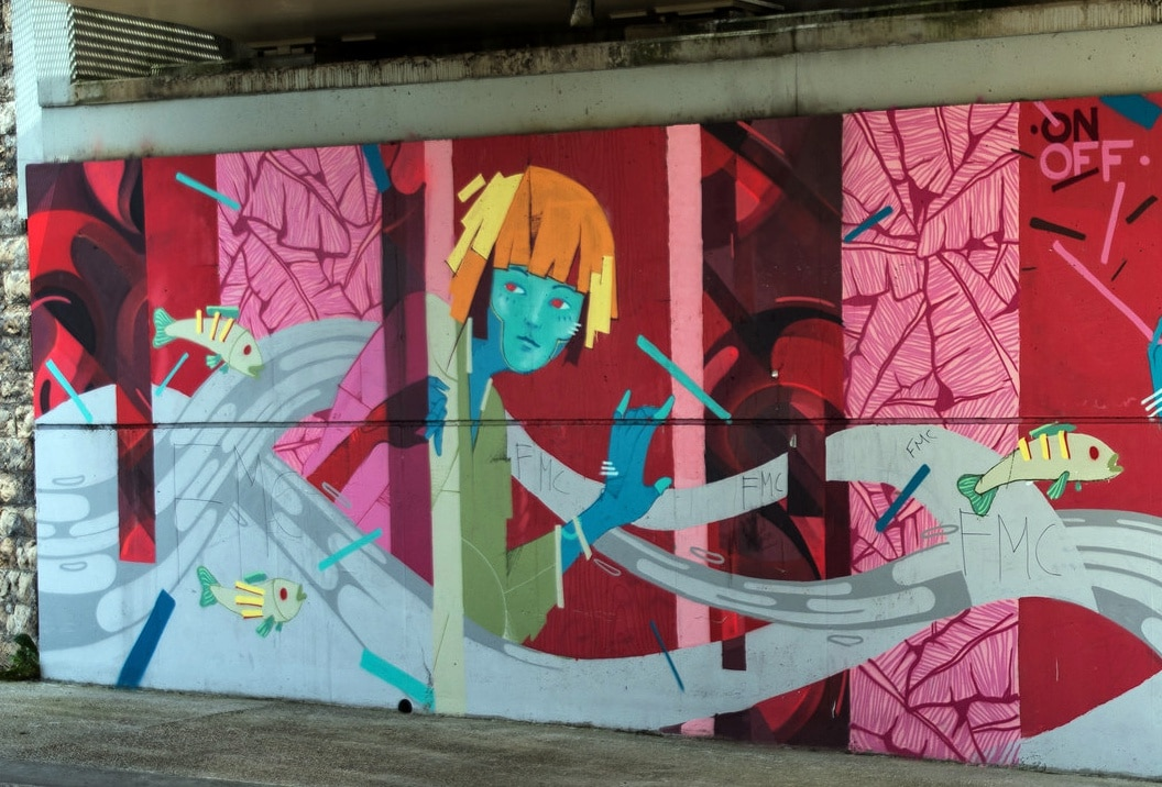Paris street art Saint Denis canal pink mural