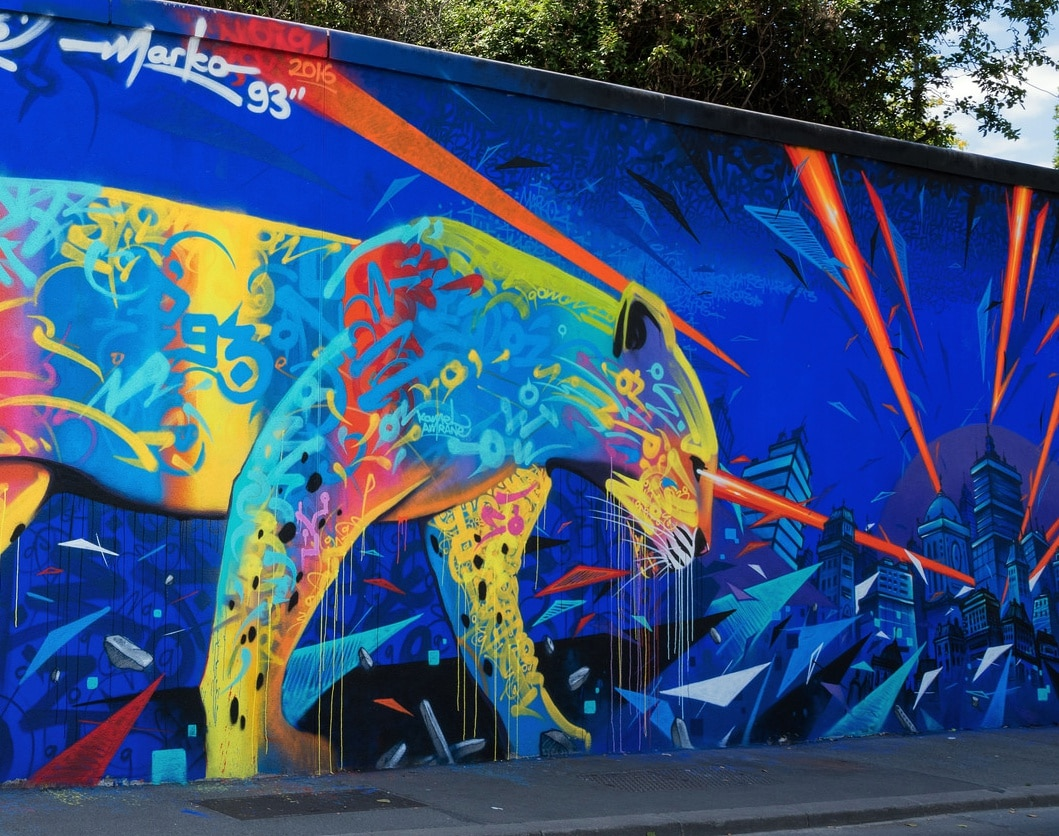 Paris Saint Denis Canal murals blue cat by Marko 93