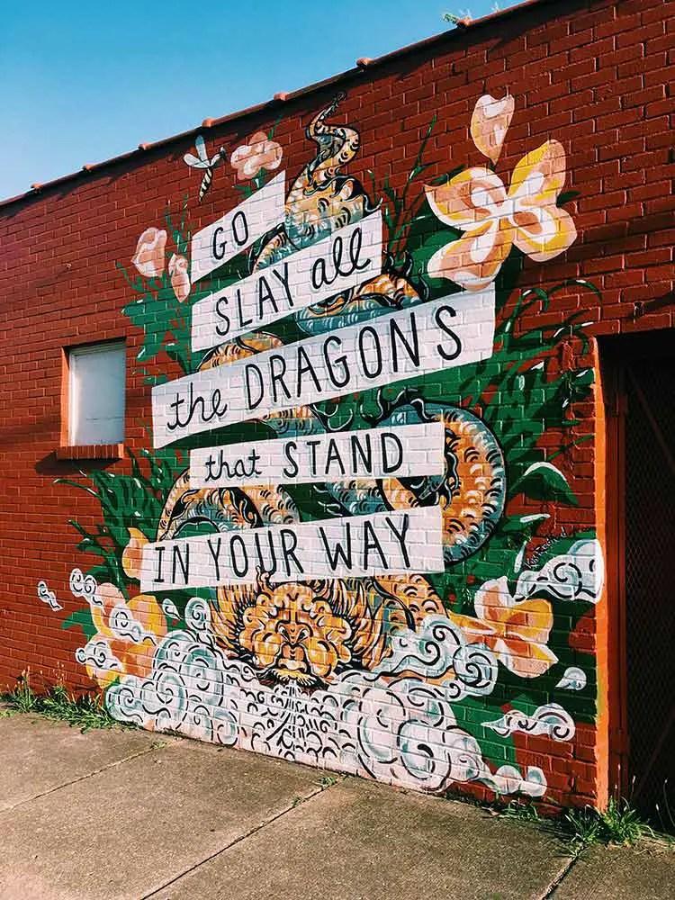 Nashville mural in Cleveland Park slay dragons