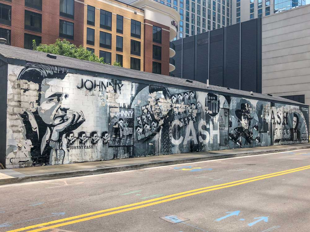 Johnny Cash Mural in downtown Nashville