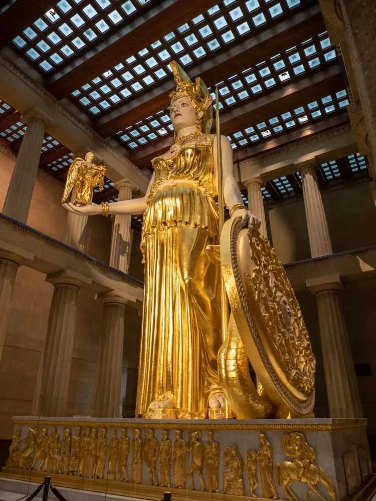 Nashville Parthenon gold Athena statue