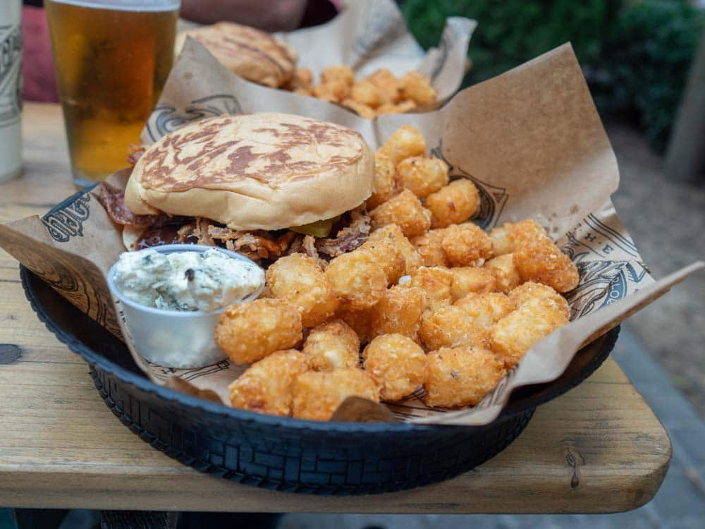 East Nashville Pharmacy Burger with tater tots