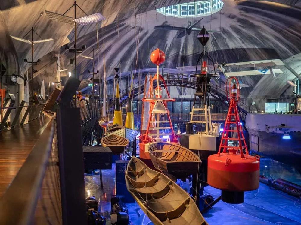 Tallinn Seaplane Museum interior with boats