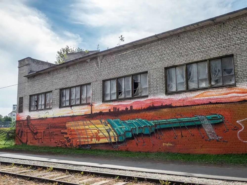 Tallinn street art orange Paintbrush