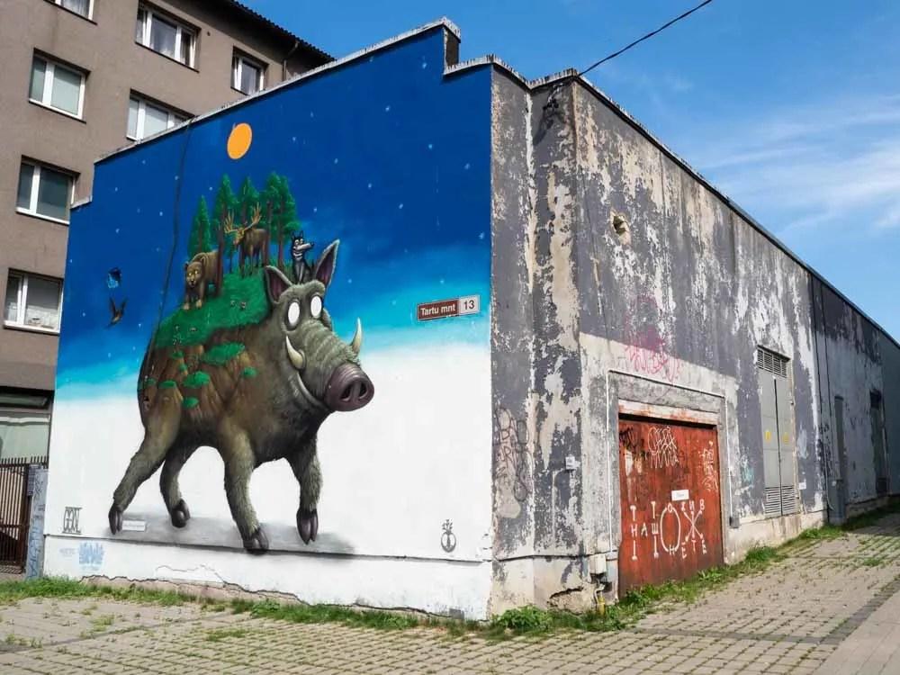 Tallinn mural by Goal. Mystical boar and elk