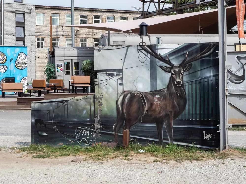 Tallinn Estonia Telliskivi deer mural