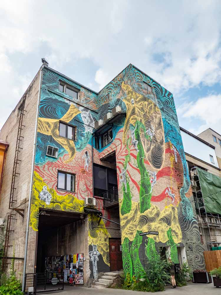 Tartu Estonia street art Widget Factory whale mural by Awer