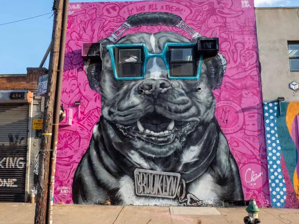 NYC street art Brooklyn dog mural Ruben Ubiera